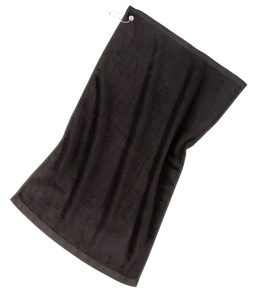 Port Authority® Grommeted Golf Towel.  TW51 (Black)
