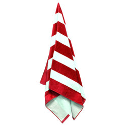 Product image of Red/White Stripes Liberty Bags C3060 - Cabana Stripe Velour Beach Towel