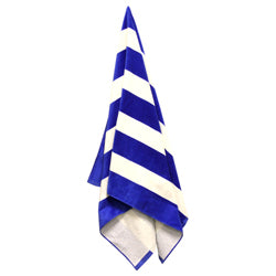 Product image of Royal/White Stripes Liberty Bags C3060 - Cabana Stripe Velour Beach Towel