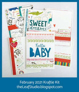 February 2021 Kraftie Kit - Sweet Safari Baby Cards - Local Pick-Up or Shipped
