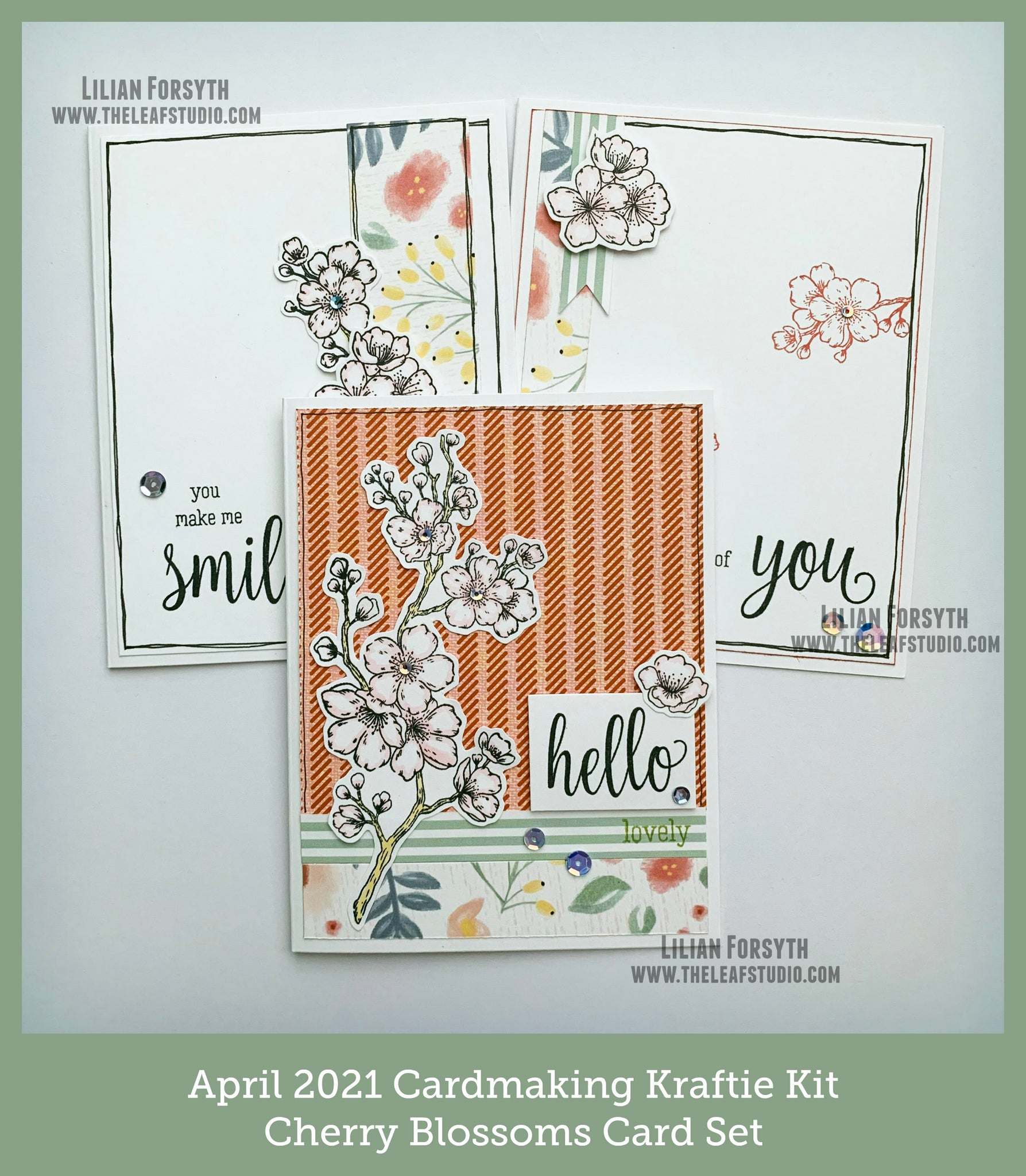 April 2021 Kraftie Kit - Cherry Blossoms Card Set - Local Pick-Up or Shipped