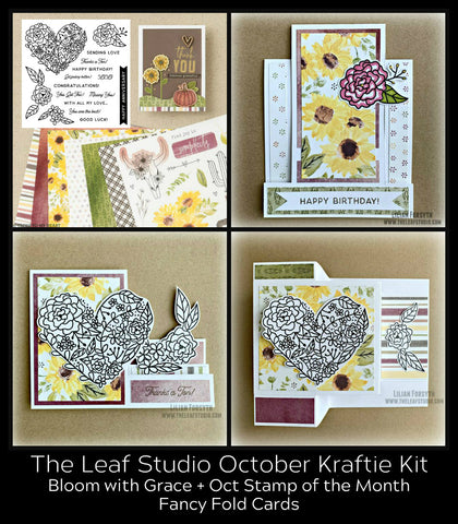 October Kraftie Kit - Bloom With Grace Fancy Fold Cards (with/without With All My Love SOTM)- Local Pick-Up
