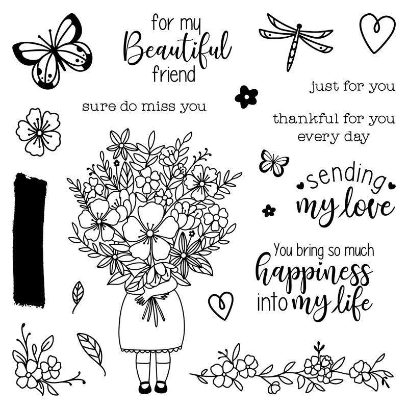 For My Beautiful Friend Polymer Stamp Set (S2007) CTMH Close To My Heart Stamp of the Month