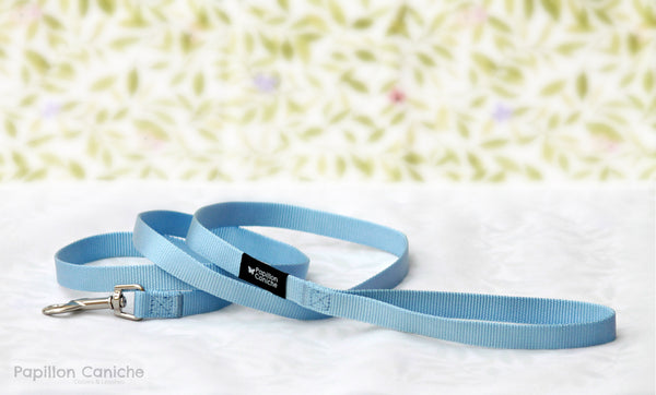 Skye Blue Nylon Dog Leash by Papillon Caniche