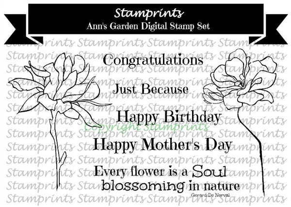Digital Stamp Set - Ann's Garden AHS-162 (by Ann H for Stamprints).