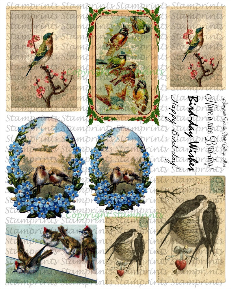 Digital Collage Sheet - For the Birds CS-06 (by Stamprints). Printable Vintage Images. Paper Crafts. Altered Art. Mixed Media