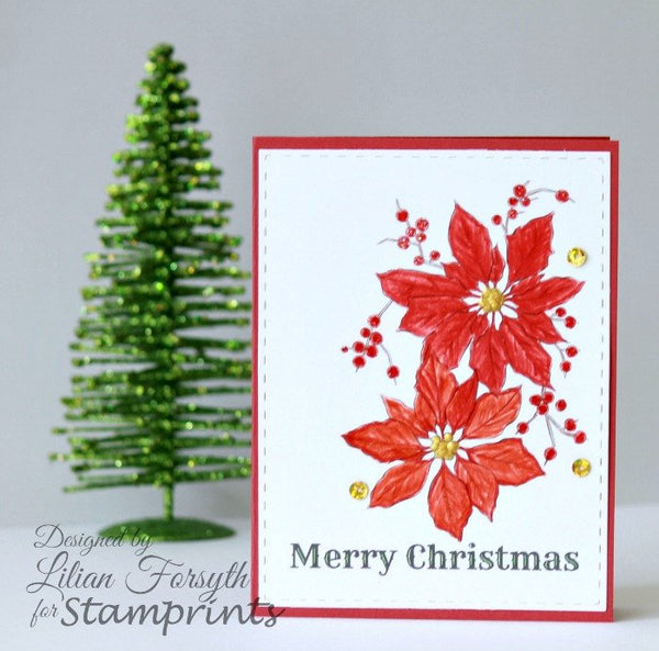 Digital Stamp - Poinsettias VIS-1611 (by Stamprints).Christmas.
