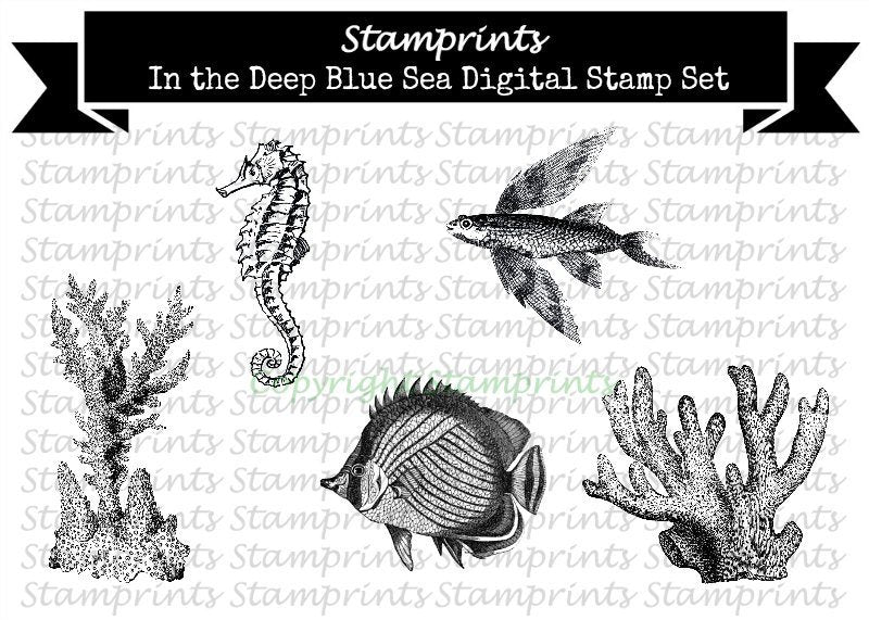 Digital Stamp Set - In The Deep Blue Sea (by Stamprints).Printable Vintage Images.