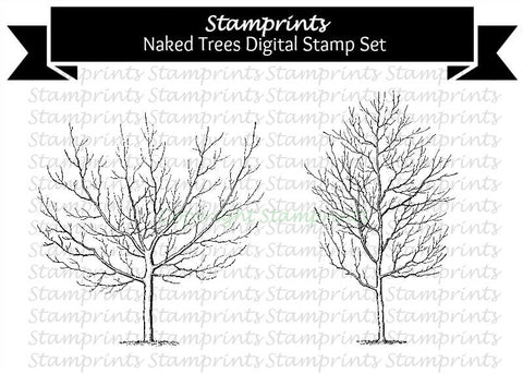 Digital Stamp Set - Naked Trees (by Stamprints).Printable Vintage Images.