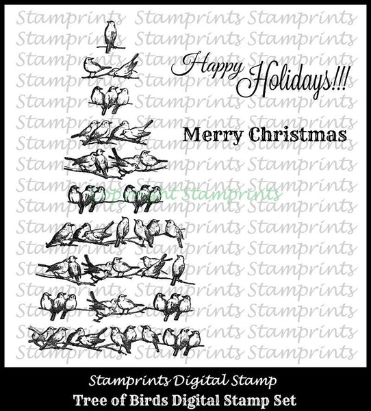 Digital Stamp Set - Tree of Birds VIS-1610 (by Stamprints).Printable