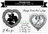 Digital Stamp Set - L'Amour (by Stamprints).Printable Vintage Image.Sentiments.PaperCrafts.Altered Art. Mixed Media