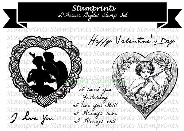 Digital Stamp Set - L'Amour (by Stamprints).Printable Vintage Image.
