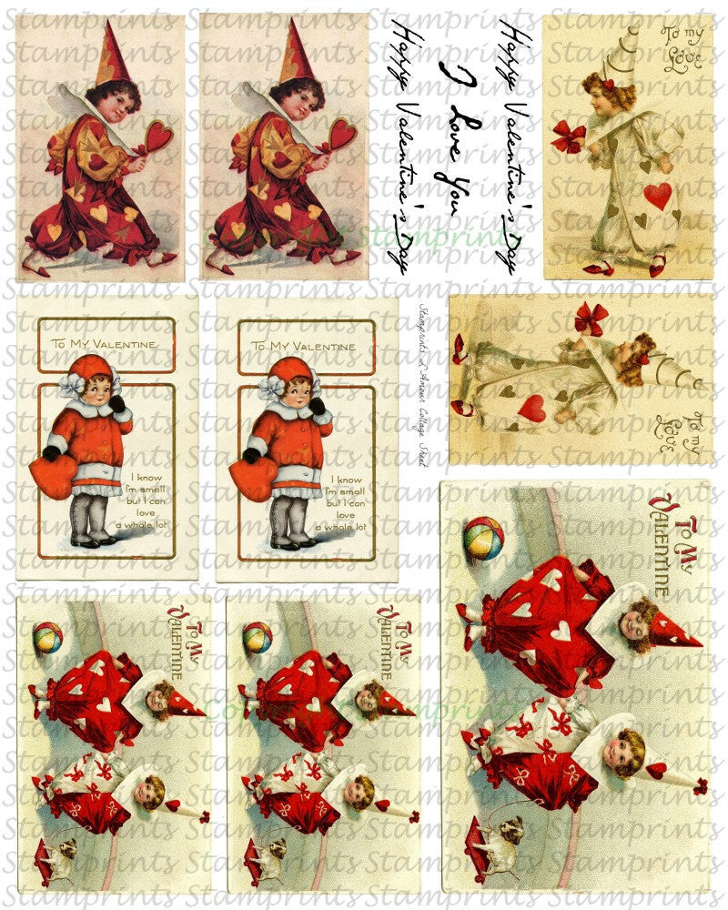 Digital Collage Sheet - L'Amour CS-07 (by Stamprints). Printable Vintage Images.