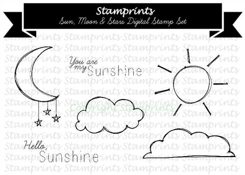 Digital Stamp Set - Sun, Moon & Stars MFS-171 (by Stamprints).Printable Hand Drawn Illustrations. Paper Crafts