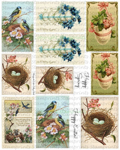 Digital Collage Sheet - Easter CS-08 (by Stamprints). Printable Vintage Images
