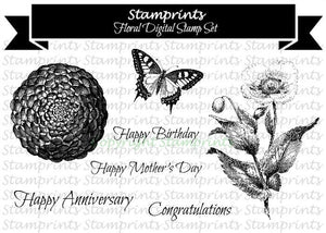 Digital Stamp Set - Floral (by Stamprints).Printable Vintage Images.
