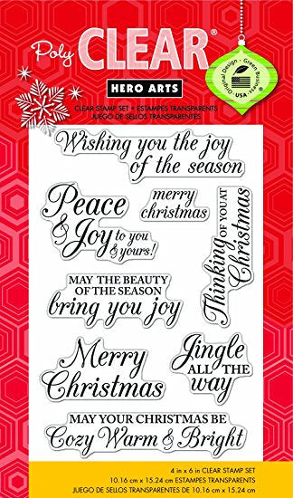 Christmas in July - Hero Arts Photopolymer Stamp Set CL722 Merry Christmas Message