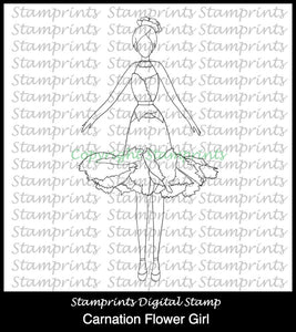 Carnation Flower Girl - Carnation (TLS-1715) Digital Stamp. Cardmaking.
