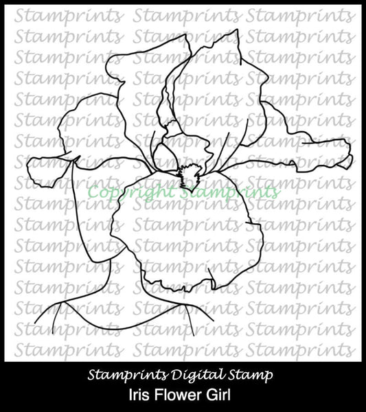 Iris Flower Girl (TLS-1726) Digital Stamp. Cardmaking.Scrapbooking.
