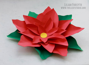 Paper Flower Poinsettia. Hand-crafted. Gift Topper. Wall Decoration