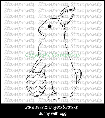 Bunny with Egg (TLS-1806) Digital Stamp. Cardmaking.Scrapbooking