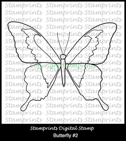 Butterfly #2 (TLS-1808) Digital Stamp. Cardmaking.Scrapbooking.