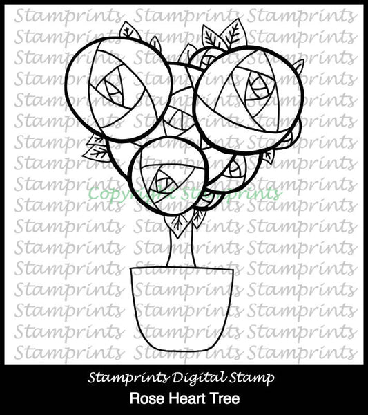 Rose Heart Tree (TLS-1717) Digital Stamp. Cardmaking.Scrapbooking.