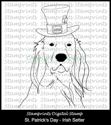 St. Patrick's Day - Irish Setter (TLS-1818) Digital Stamp. Cardmaking.