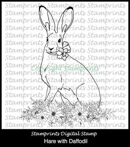 Hare with Daffodil (TLS-1819) Digital Stamp. Cardmaking.Scrapbooking