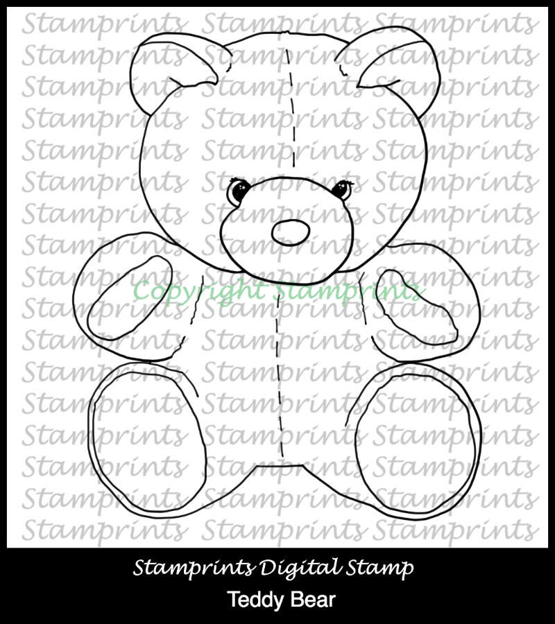 Teddy Bear (TLS-1804) Digital Stamp. Cardmaking.Scrapbooking.MixedMedia.