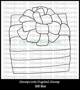 Gift Box (TLS-1814) Digital Stamp. Cardmaking.Scrapbooking.