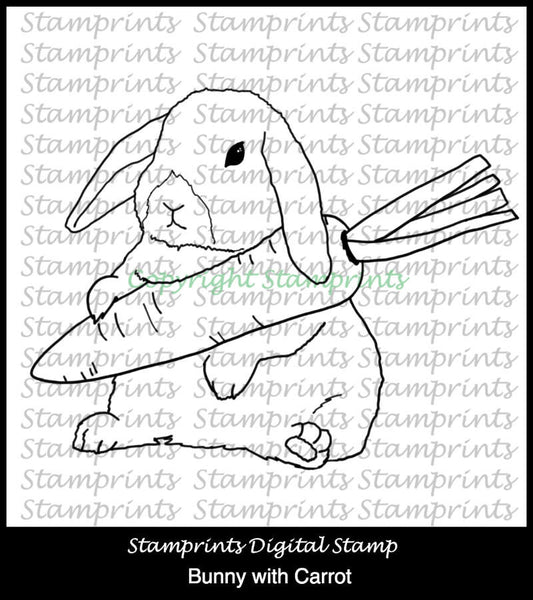 Bunny with Carrot (TLS-1803) Digital Stamp. Cardmaking.Scrapbooking
