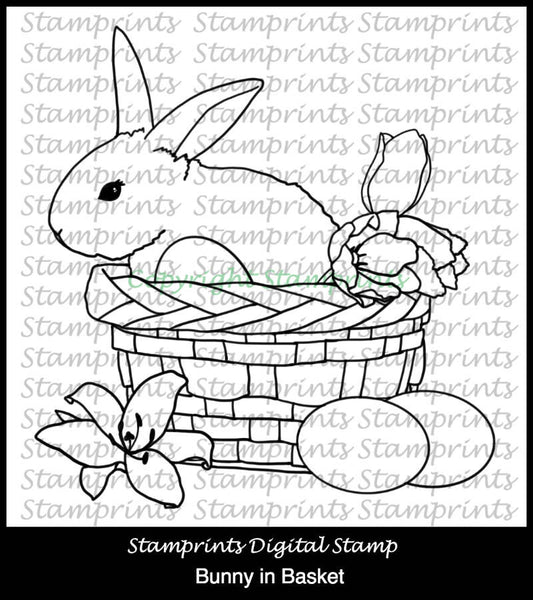 Bunny in Basket (TLS-1805) Digital Stamp. Cardmaking.Scrapbooking