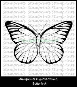Butterfly #1 (TLS-1807) Digital Stamp. Cardmaking.Scrapbooking.