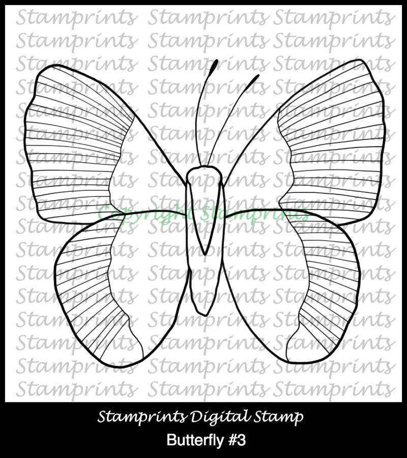 Butterfly #3 (TLS-1809) Digital Stamp. Cardmaking.Scrapbooking.