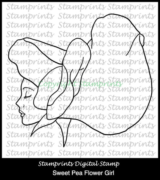 Sweet Pea Flower Girl (TLS-1810) Digital Stamp. Cardmaking.Scrapbooking.