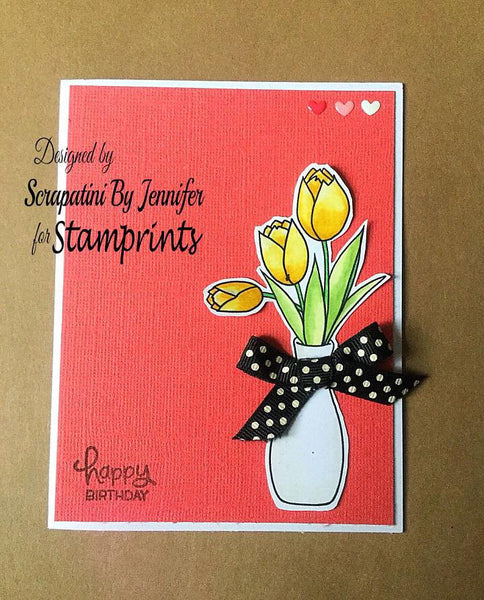 Digital Stamp - Tulips Vase MFS-167 (by Stamprints). Printable.Coloring Art.
