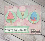 Digital Stamp Set - I Scream for Ice Cream TLS-1820 (by Stamprints).Printable Hand Drawn Illustrations.PaperCrafts.Mixed Media.Card Making