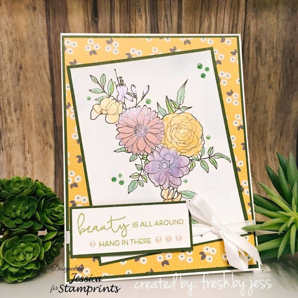 Flower Spray (TLS-1813) Digital Stamp. Cardmaking.Scrapbooking