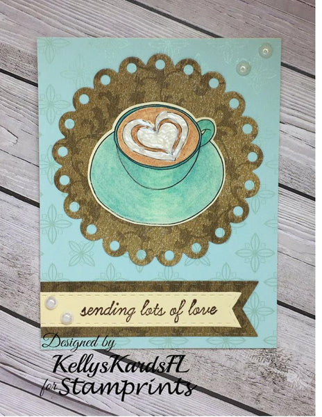 Heart Coffee Cup (TLS-1716) Digital Stamp. Cardmaking.Scrapbooking