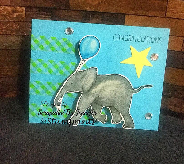 Baby Elephant with Balloon (TLS-1811) Digital Stamp. Cardmaking