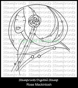 Rose Mackintosh (TLS-1830) Digital Stamp. Cardmaking.Scrapbooking.