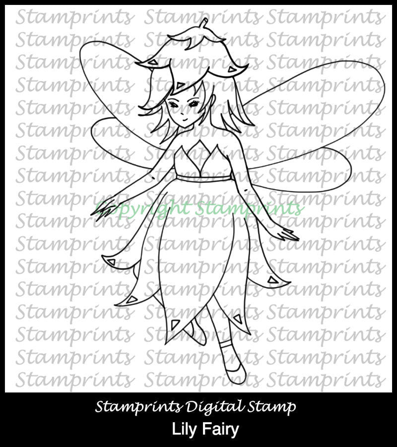 Lily Fairy TLS-1825 (Digital Stamp by Stamprints).Printable Hand Drawn Illustrations.