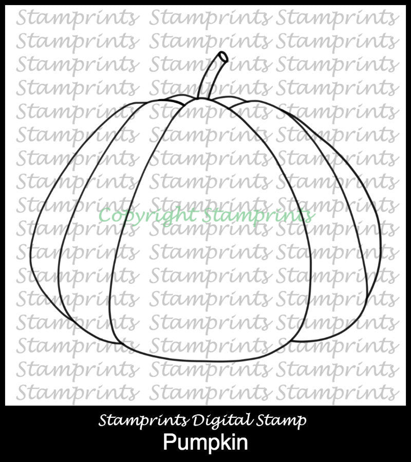 Pumpkin TLS-1831 (Digital Stamp by Stamprints) Printable.Coloring Art.