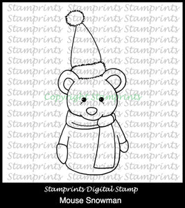 Mouse Snowman TLS-1834 (Digital Stamp by Stamprints) Printable.Coloring Art