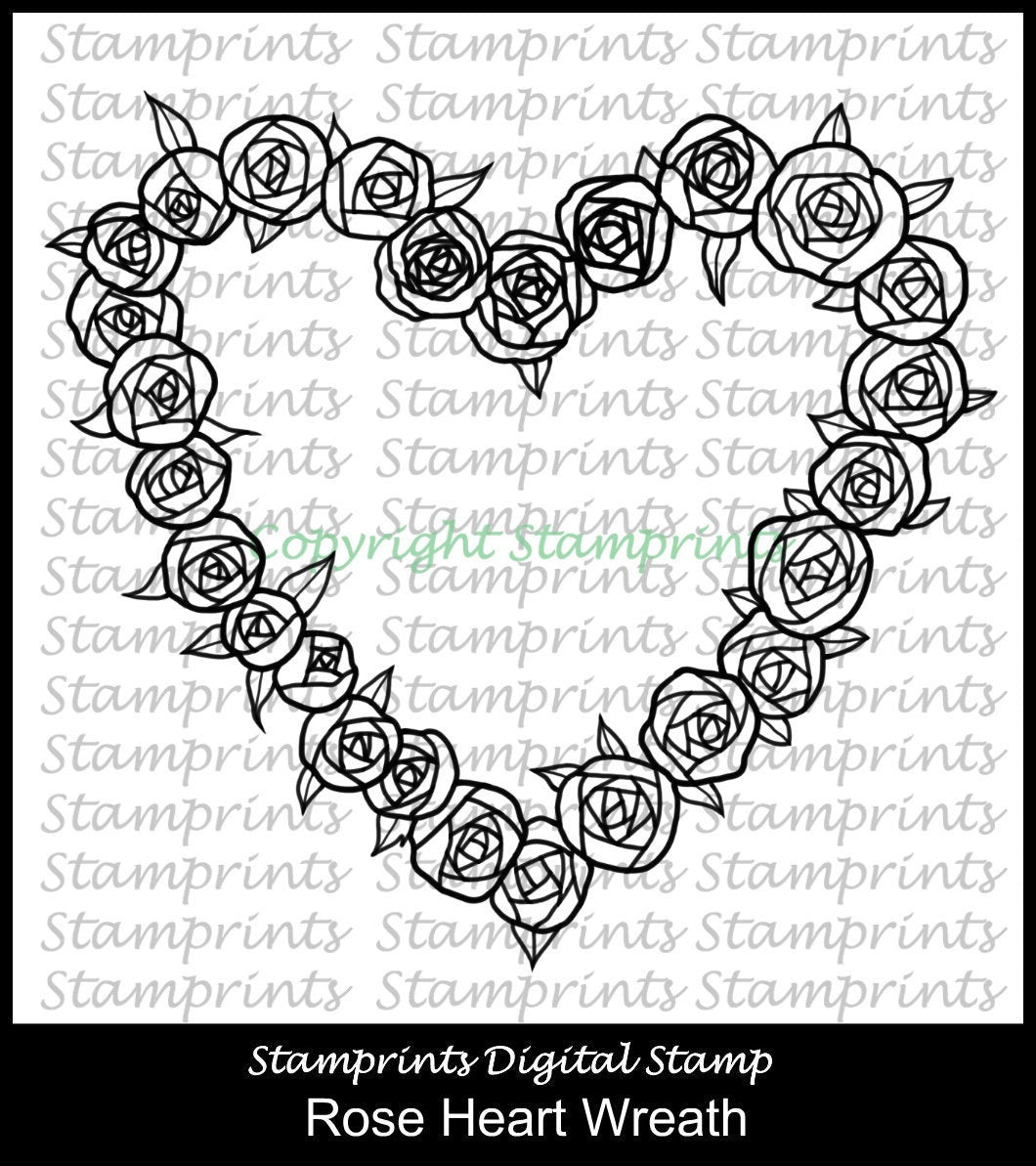 Rose Heart Wreath (TLS-1945) Digital Stamp. Printable