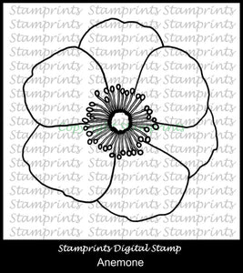 Anemone Flower Digital Stamp by Stamprints (TLS-1955) Cardmaking.MixedMedia.
