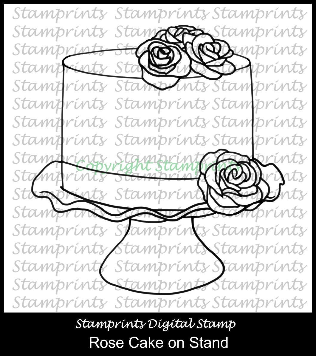 Rose Cake on Stand  (TLS-1946) Stamprints Digital Stamp. Cardmaking.Scrapbooking.MixedMedia.