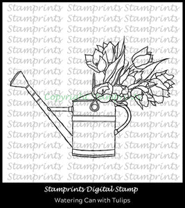 Watering Can with Tulips (TLS-2005) Digital Stamp by Stamprints. Cardmaking.Scrapbooking.MixedMedia.