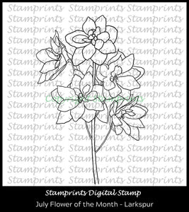 July Flower of the Month - Larkspur (TLS-2007) Digital Stamp by Stamprints.Coloring Page. Cardmaking.Scrapbooking.MixedMedia.